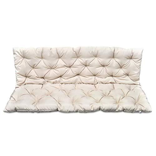 Cuscini per Dondolo 150 cm Cuscino Imbottito per Giardino Esterno per Dondolo,Cuscino per Panca a 2-4 Posti,Cuscini per divani,Cuscini per poltrone,150 x 98 cm,Crem