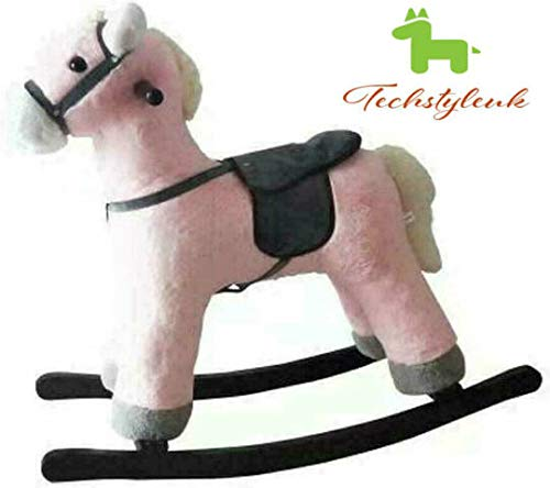 Techstyleuk Children's Rocking Horse Rocker Animal Toy For Kids Wooden With Music Great Gift Sound (Donkey Dinosaur Giraffe Horses) (Pink & Black (78 x 28 x 68 cm))