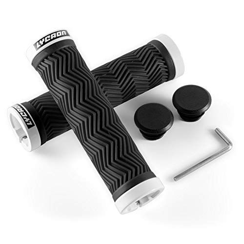 LYCAON Bike Handlebar Grips, 2 Sides Locking, TPR Rubber Anti-Slip Bicycle Handle Grip, Bike Grips Fits MTB/BMX/Mountain/Downhill/Foldable/Urban Bicycles/Scooter (White, Classic Grips)