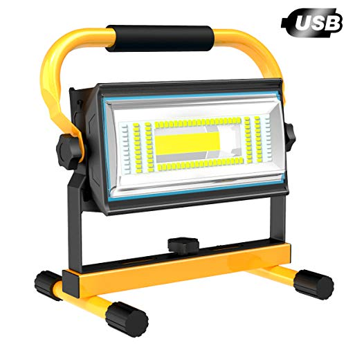 T-SUN Led Baustrahler Akku, 60W Wiederaufladbare LED Arbeitsleuchte tragbares Flutlicht Baulampe mit 7200 mAh, 5 Helligkeitsmodi Außen Beleuchtung für Werkstatt Baustelle USW