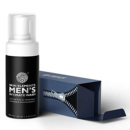 Skin Elements Intimate Wash for Men (4.05 oZ) - With Tea Tree Oil, Calendula, Aloe Vera and Witch Hazel extracts, It is Foaming, Anti Bacterial, Soap Free and pH balanced