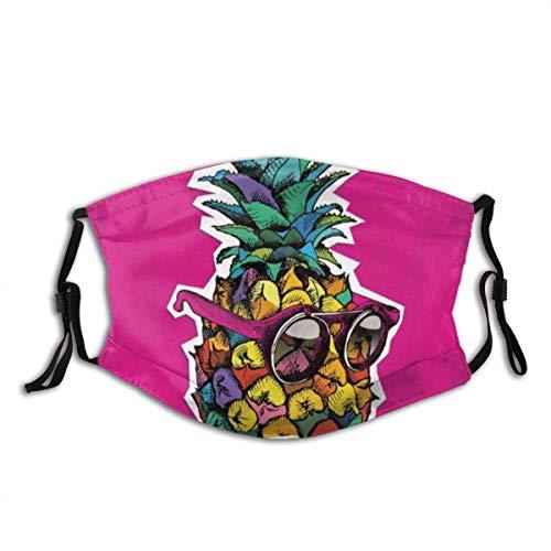 Piña Hip-Star Acuarela Piña Sol Gafas de Sol Arte Piña Tropical Fruta exótica Selva en Polvo Simple Cubierta de la Cara Lavable Reutilizable, a Prueba de Polvo, Ciclismo