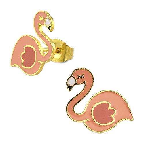 Monkimau Oorbellen voor meisjes, flamingo-oorstekers van messing, 18-karaats goud verguld