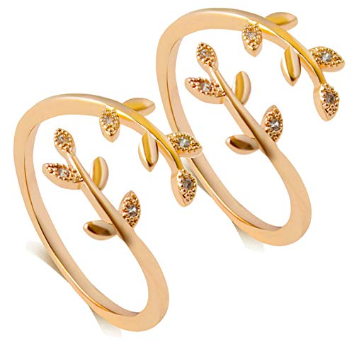 2Pcs Leaf Ring, Grow Through What You Go Through Ring Adjustable Branch Ring Leaf Open Ring Jewelry Gift for Girl Women (Golden)