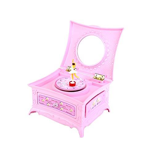 ZRJ Caja de música Color Glitter Spinning Ballet Girl Home Deco Night Light Caja de música para Año Nuevo Regalo Infantil (Color : Pink)