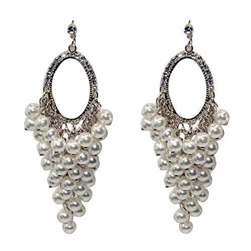 Orecchini alla moda per ragazze donne, feste di nozze donne eleganti vuote ovali finte perle lunghe dichiarazione - oro e Acciaio inossidabile, colore: Argento, cod. 2136647-Monterey-UK