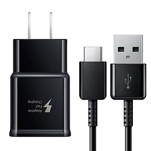 Adaptive Fast Charger for Galaxy S8, S8+, S9, S9+, S10+, Note 8, Note 9 USB-C 3.1 Type-C Cable Kit Fast Charging USB Wall Charger AC Home Power Adapter [1 Wall Charger + 4 FT Type-C Cable] (Black)