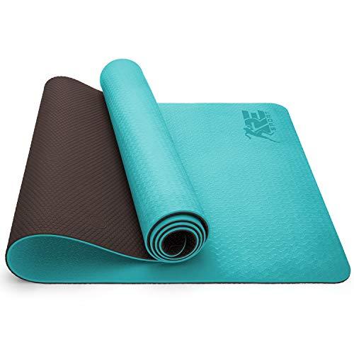 RE:SPORT Yogamatte Phthalatfrei - Gymnastikmatte rutschfest, Fitnessmatte schadstofffrei, Trainingsmatte mit Tragegurt 183 x 61 x 0,6 cm
