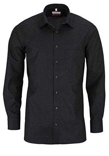 MARVELIS Modern Fit Hemd Langarm mit Brusttasche Popeline, Farbe Schwarz, Größe EU 42