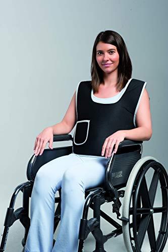 Obbocare | Chaleco de Sujeción Escotado para silla de ruedas con Pieza Perineal | Sistema de cierre y ajuste por clip (Talla L)