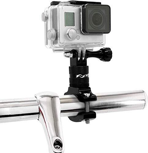 MyGadget Soporte de Cámaras de Acción Bicicleta/Motos - Montaje de Manillar en Aluminio - Rotación 360 Grados para GoPro Hero, Xiaomi, Garmin, Sony - Negro
