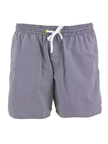 Brunotti Boardshort zwembroek met binnenbroek blauw wit gestreept elastische tailleband