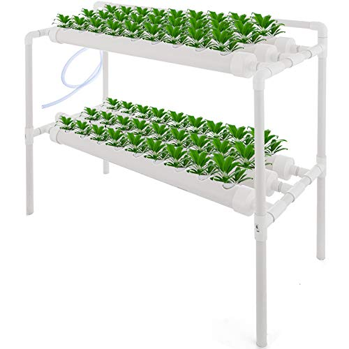 DreamJoy 2 Layers 54 Plant Sites Hydroponic Site Grow Kit 6 Pipes Hydroponic Growing System Water Culture Garden Plant System for Leafy Vegetables Lettuce Herb Celery Cabbage