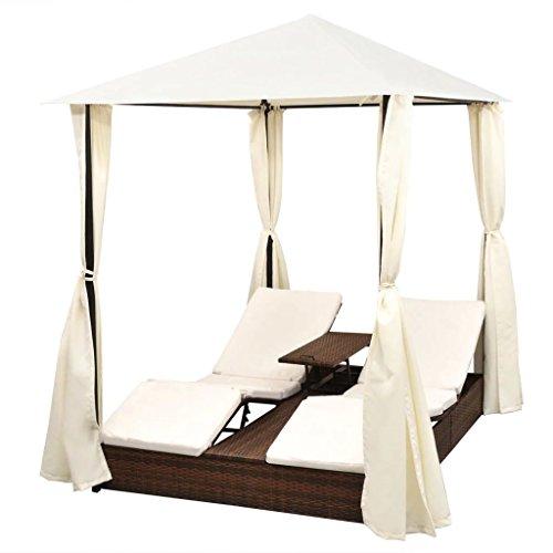 vidaXL Sonnenliege mit Vorhang Gartenliege Gartenmöbel Liege Strandliege Relaxliege Freizeitliege Liegestuhl Rattanmöbel Poly Rattan Braun