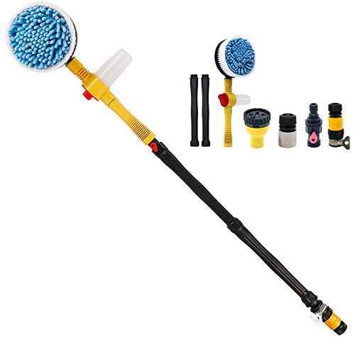 Toolly Car Wash Brush, Car Cleaning Kit, 360° Spin Car Mop, Microfiber Car Cleaning Brush, Detachable & Extendable Scrub Brush, Garden Hose Spray Nozzle Spray Gun