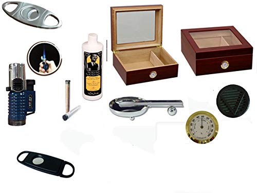 50 Count Cigars Glass top Cherry Humidor Cutters Lighter Cigar Caddy Gift Set & Calibration Kit Ashtray