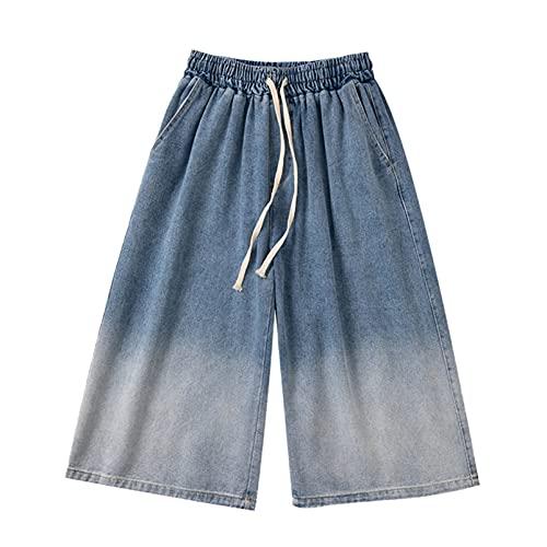 Pantalones Vaqueros para Hombre Pantalones Cortos de Encaje Estilo Degradado Confort de Verano Pantalones Cortos de Mezclilla de Uso Diario hasta la Pantorrilla