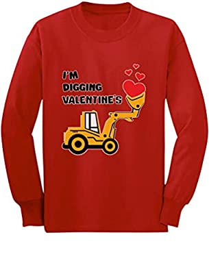 I'm Digging Valentine's Gift Tractor Loving Boy Toddler Kids Long Sleeve T-Shirt 3T Red