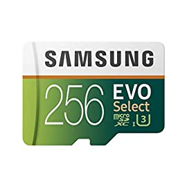 Samsung (MB-ME256GA/AM) 256GB 100MB/s (U3) MicroSDXC EVO Select Memory Card with Full-Size Adapter 3 Ideal for recording 4K UHD video: Samsung MicroSD Evo is perfect for high res photos, gaming, music, tablets, laptops, action cameras, dslr's, drones, smartphones (Galaxy S10, S10+, S10e, S9, S9+, Note9, S8, S8+, Note8, S7, S7 Edge, etc.), Android devices and more Enhanced read write speeds: Sequential read and write performance levels of up to 100MB/S and 90MB/S, respectively Built to last reliability: Shock proof memory card is also water proof, temperature proof, X Ray proof and magnetic proof