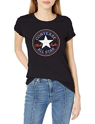 Converse 10017759-a03-001 - Camiseta de Manga Corta para Mujer, Color Negro - Negro - X-Small