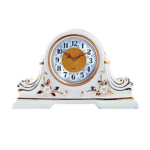 ZYLBDNB Pendeluhren Wohnzimmer Altmodische Haus Kaminuhr/große Design Uhr / 15-Zoll-Weiß Mode Tischuhr/Retro Tischuhr for Wohnzimmer pendeluhr wanduhr mit schlagwerk Holz