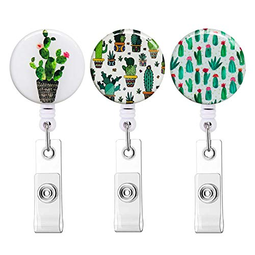 Retractable Badge Holder Cute Nursing Badge Reel with Alligator Clip Pretty ID Card Holders Badge Clip for Nurses (3pack Cactus)