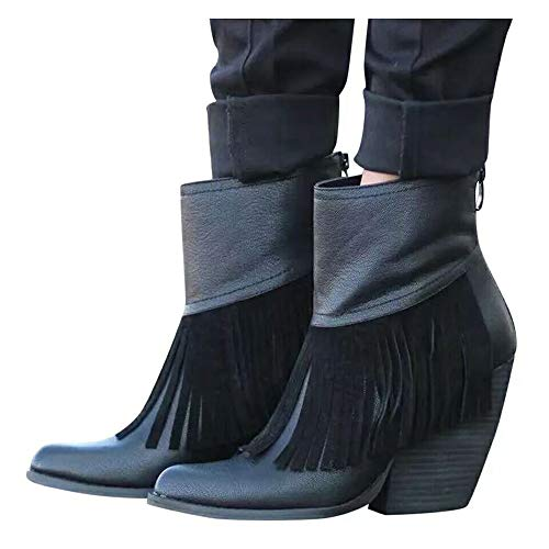 LYYJF Botas de tobillo para mujer con cremallera trasera puntiaguda, tacón medio, borlas y tacón alto, botas de combate, negro, 41 EU