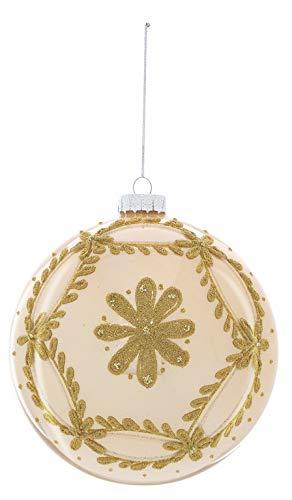 Blanc Mariclò Palle di Natale in Vetro di Colore Oro con Strass e Glitters, Pz 3 Decorazioni Natalizie Decoro Shabby Chic Addobbi per Albero (Diametro 15 cm)