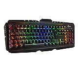 OMBAR Teclado Mecánico Gaming, 105 Teclas y Switches Blue, con Cable y 8 Colores RGB Retroiluminado, Anti-Ghosting-Versión Español