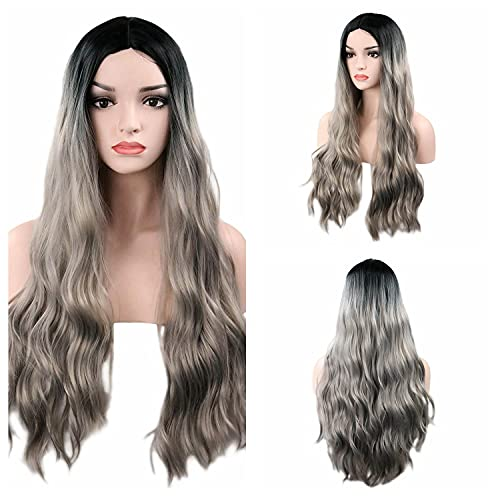 TopWigy Long Curly Silver Grey Wig 28 Inches Long Gray Wig for Women Synthetic Heat Resistant Middle Part Ombre Silver Wig Dark Roots Long Wavy Wigs Cosplay Party Wig