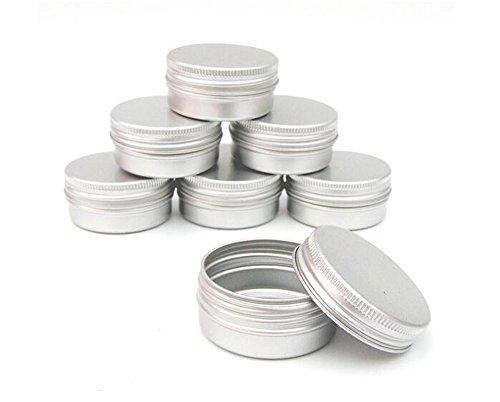 Erioctry Lot de 10 pots vides en Aluminium Argenté - bocal pour Baume, décorations d'ongles, Pot de crème Cosmétique - de maquillage - pot de Rouge à lèvres - Couvercle à vis - Capacités à vide de 15 ml / 10 ml / 30 ml / 50 ml / 100 ml- Boîtes idéales pour cosmétiques/produits de beauté DIY.
