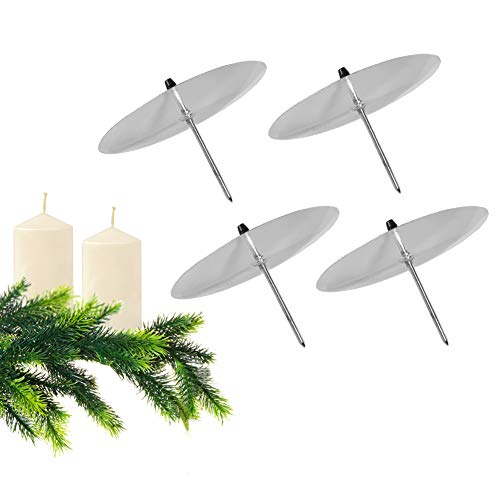 GoMaihe Kerzenhalter Adventskranz 4 Stück, Kerzenteller für Adventskranz Metall, Kerzenpick mit Dorn 8cm Adventskerzenhalter, Kerzenstecker für Advent Weihnachts Tisch Deko Hochzeit, Silber, MEHRWEG