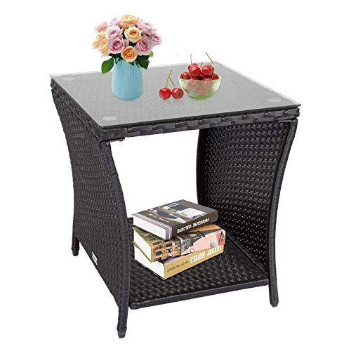 Kinsunny Square Patio Coffee Bistro Table PE Rattan Wicker Side Table w/Glass Top Indoor Outdoor, Black