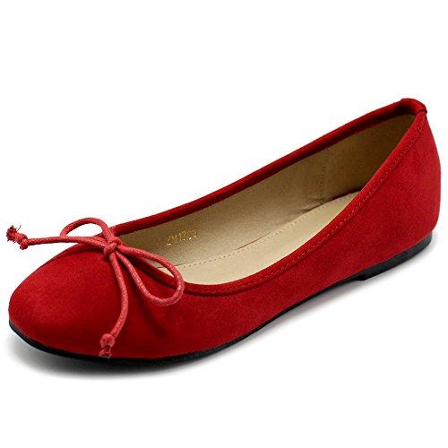 Ollio Womens Shoe Faux Suede Ribbon Ballet Flat ZM1703 (7.5 B(M) US, Red)
