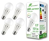 4x Bombilla LED greenandco® IRC 90+ E27 18W (corresponde a 100W) opaca 1521lm 3000K (blanco cálido) 270° 230V AC, sin parpadeo, no regulable