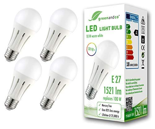 4x Bombilla LED greenandco® IRC 90+ E27 18W (corresponde a 100W) opaca 1521lm 3000K (blanco cálido) 270° 230V AC, sin parpadeo, no regulable