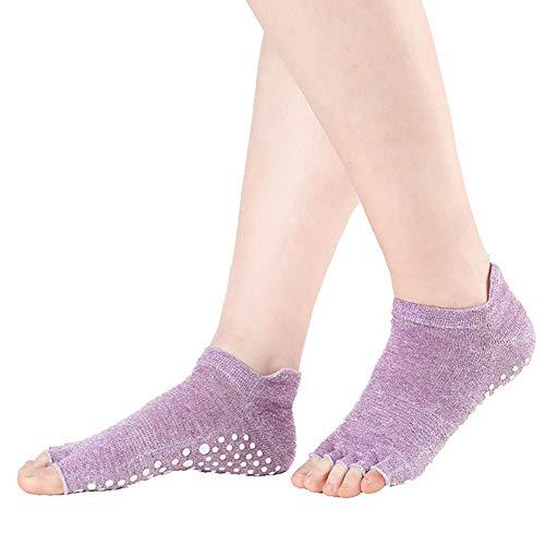Delan Calcetines de yoga antideslizantes para mujer, ideales para pilates Pure Barre Ballet Dance (1 par), morado