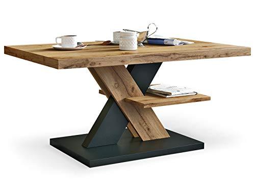 Viosimc Moderner Wohnzimmertisch, Couchtisch Eiche Wotan & Schwarz, Wohnzimmer Sofatisch Kaffeetisch, Modern Matt Sofa Tisch mit Großer Ablage, Mittel- oder Beistelltisch für Tee und Kaffee