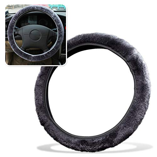 Zone Tech Fluffy Plush Car Steering Wheel Cover–Classic Grey AntiSlip Comfortable Winter Warm Stretch On Faux Sheepskin Steering Wheel Cover Car Wheel Protector