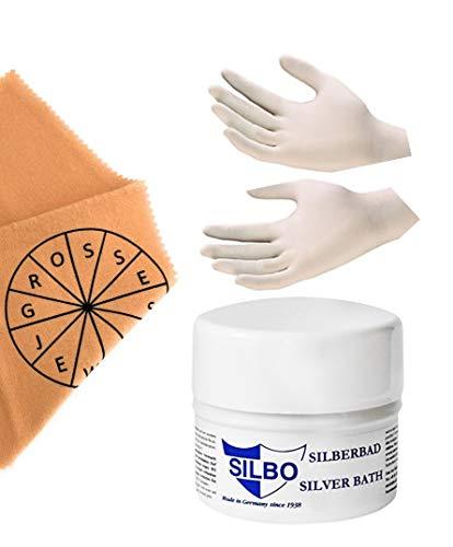 Set aus Tauchbad für Silberschmuck (Silberbad) und universal Poliertuch für alle Oberflächen, inkl. 1 Paar Handschuhe