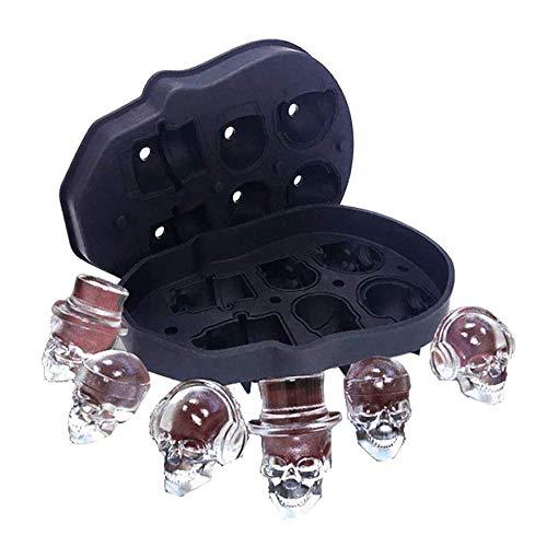Stampo per Cubetti di Ghiaccio in Silicone con Teschio 3D, Fabbricatore di Ghiaccio Rotondo, può Realizzare 4 Cubetti di Ghiaccio a Forma di Teschio per Whisky e Cocktail Ice Maker (6 Griglie)