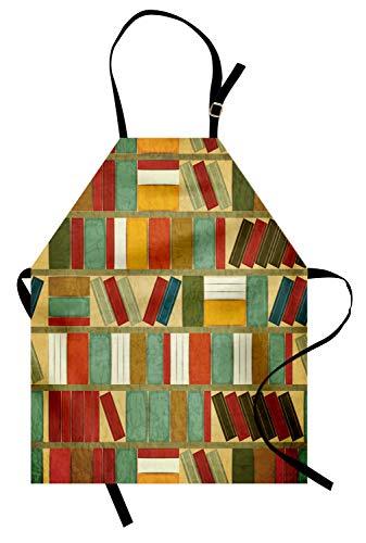 ABAKUHAUS Boekenplank Keukenschort, Schilderen Vintage Library, Unisex Keukenschort met Verstelbare Nekband voor Koken en Tuinieren, Veelkleurig