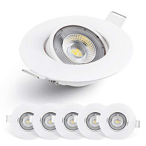 Emos LED Einbaustrahler 50° schwenkbar, Set mit 6 Stück Spots rund, 5W / 450lm / Tageslicht Kalt 6.500k, ultra-flache LED Modul Einbauleuchten für Innen, Farbe Weiß