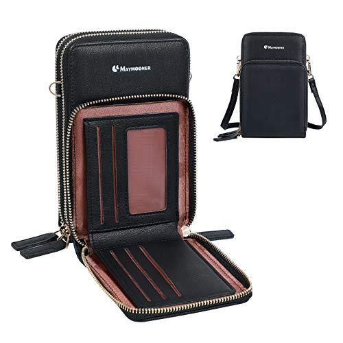 Maymooner Bolso bandolera de piel sintética para teléfono móvil, para mujer, con tarjeta de crédito, ajustable, bolso pequeño