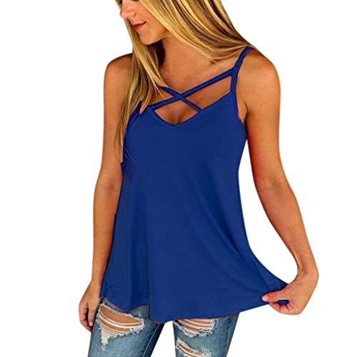 Camiseta Sin Mangas Mujer SHOBDW 2019 Nuevo Sexy Cuello Halter Cruzar Color Sólido Tops Blusa Playa de Verano Suelto Camiseta Mujer Tallas Grandes(Azul,L)