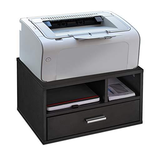 Relaxdays Druckerständer Schreibtisch, 3 Fächer, Regal für Drucker, MDF, Druckerhalter, HxBxT 22 x 40 x 30 cm, schwarz, 1 Stück