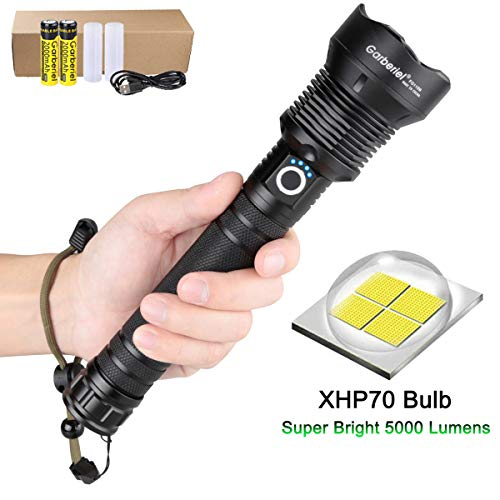 Garberiel Super Bright XHP70 LED Flashlight 3 Modes 5000 High Lumens Zoom Torch Light with Battery and USB Cable