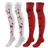 Faletony Overknee - Calcetines hasta la rodilla para mujer y niña, extra largos, para cosplay, color rojo, blanco, naranja y verde