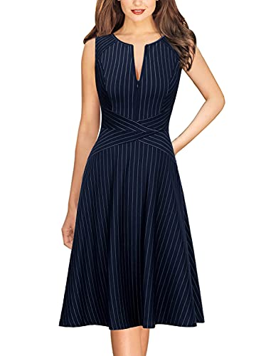 Vfshow Womens Elegant Blue and White Pinstriped Pockets Slim Zipper up Work Business Office Party Skater A-Line Dress 2350 BLU L