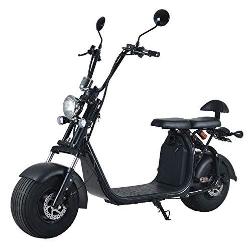 Elektroroller mit Straßenzulassung Chopper X7, 20Ah / 50km Reichweite, E-Scooter E-Roller 45 km/h Straßenzulassung, Schwarz